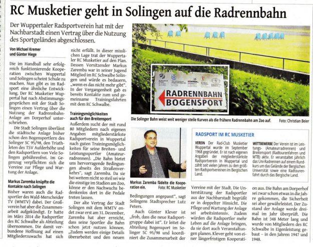 Bericht über die Radrennbahn in Solingen in der Westdeutschen Zeitung vom 15.Juni 2016